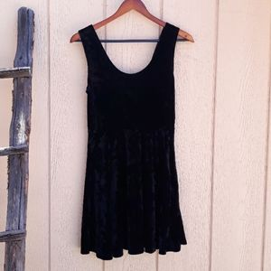 Forever 21 Dress Fit and Flare Velour Skater Black